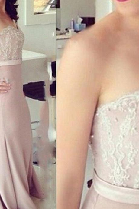 Sweetheart Elegant Mermaid Chiffon Prom Dresses Appliques Beaded Floor Length Party Dresses