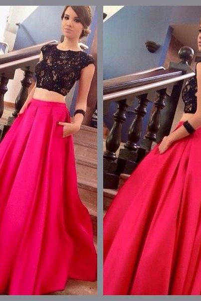 2 Pieces Long Stain Red Prom Dresses Cap Sleeves Beaded Party Dresses