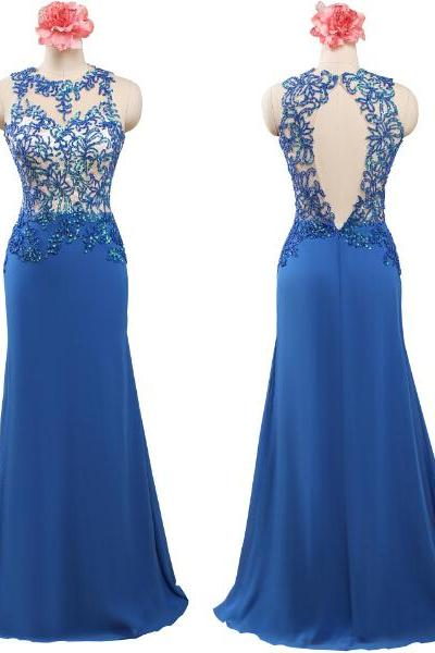 Mermaid Chiffon Blue Prom Dresses High Neck Lace Appliques Floor Length Party Dresses