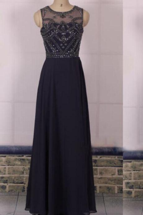 O-neck Long Chiffon Black Prom Dresses Crystals Floor Length Party Dresses