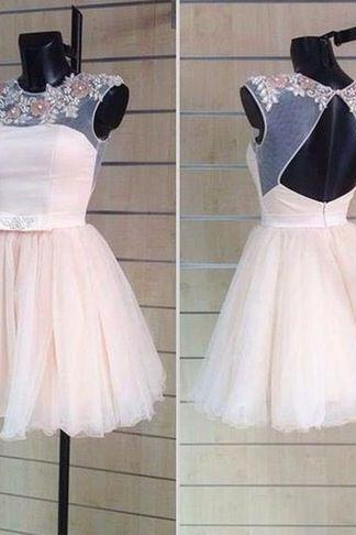 Short Tulle Homecoming Dresses Open back Beaded Party Dresses