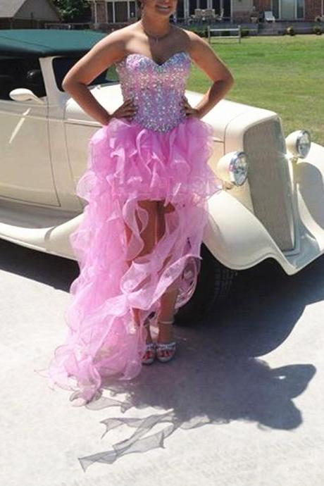 High low Sweetheart Neck Pink Prom Dresses Ruffle Organza Floor Length party Dresses