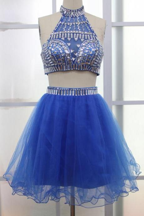 2 Pieces Mini Tulle Homecoming Dresses 2 Pieces Beaded Party Dresses