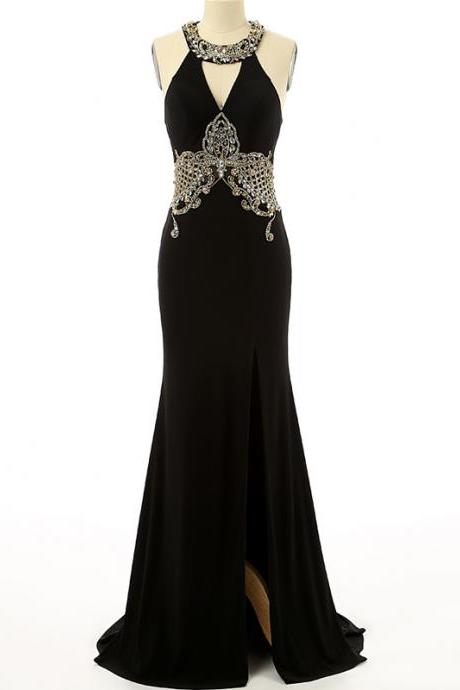 Mermaid Chiffon Black Prom Dresses Crystals Floor Length Party Dresses