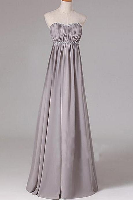 Strapless Long Chiffon Grey Prom Dresses Crystals Beaded Party Dresses