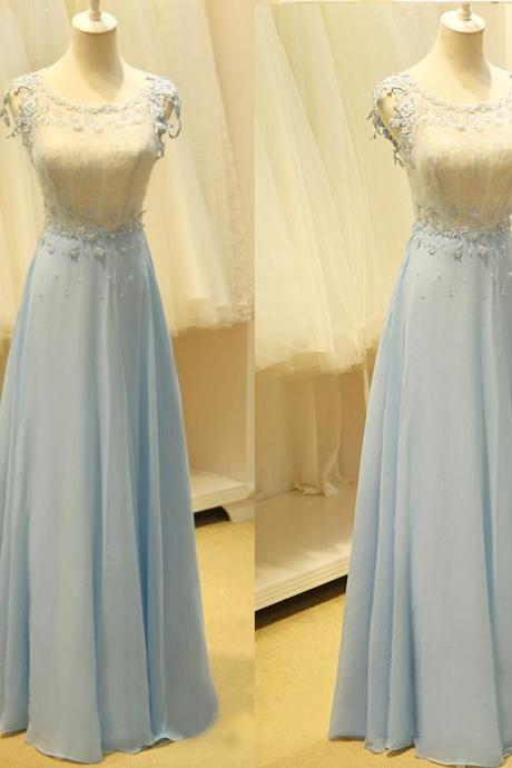 Long Chiffon Blue Prom Dresses Scoop Neck Floor Length Appliques Party Dresses