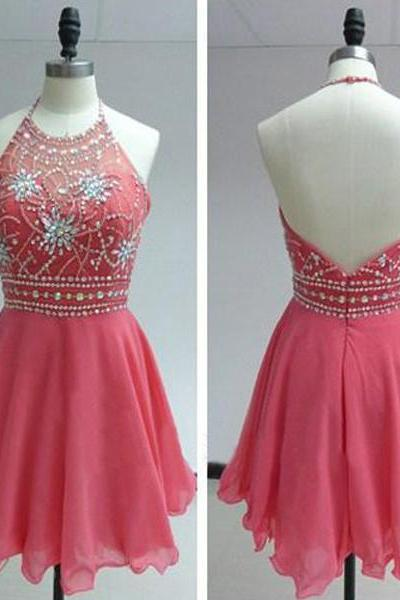 Halter Neck Short Chiffon Prom Dress Crystals Beaded Party Dresses