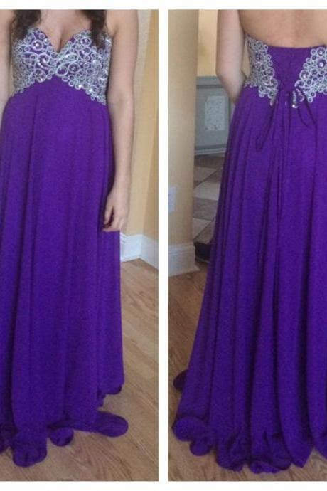 Purple Long Chiffon Prom Dresses Sweetheart Neck Crystals Party Dresses