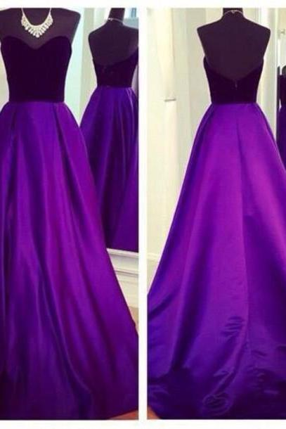 Sweetheart Neck Long satin Purple Prom Dresses Floor Length Party Dresses