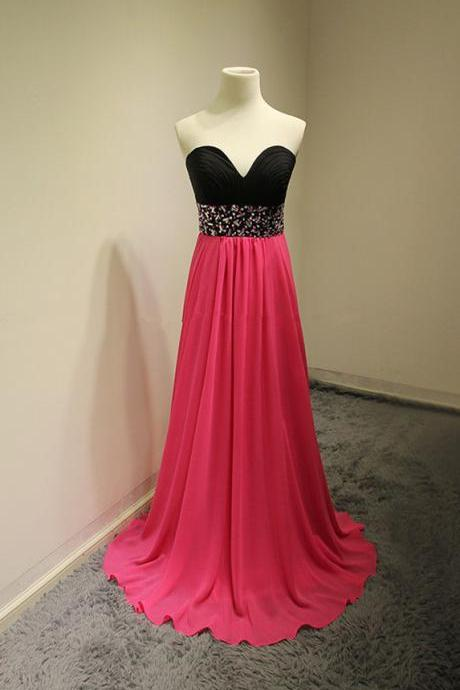 Sweetheart Neck Long Chiffon Prom Dresses Crystals beaded Party Dresses