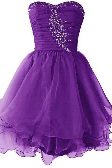 Short Tulle Purple Homecoming Dresses Strapless Beaded Party Dresses mini women dresses