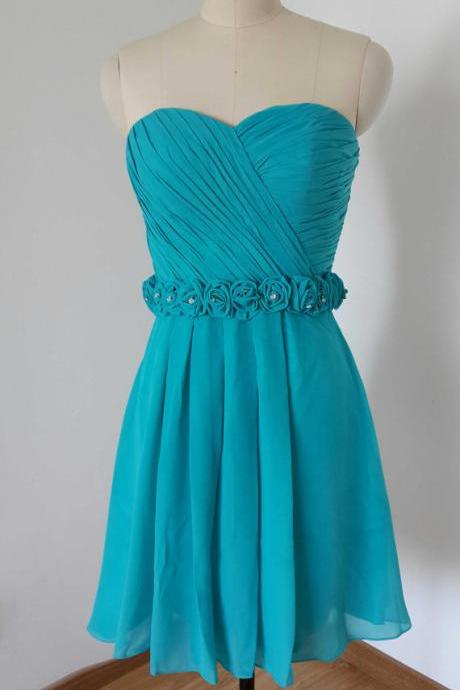 Short Chiffon Homecoming Dresses strapless Pleat Beaded Mini Party Dresses