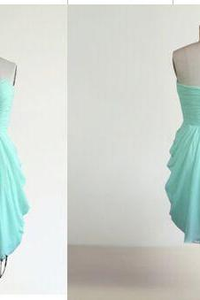 Short Chiffon homecoming Dresses Strapless Pleat Party Dresses