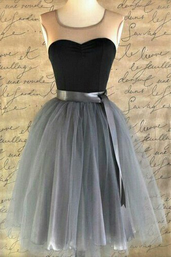 Short Tulle Homecoming Dresses Scoop Neck Lovely Party Dresses Made to Measure