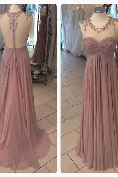Long Chiffon Prom Dresses Scoop Neck Crystals Party Dress Floor Length Pleat Dresses