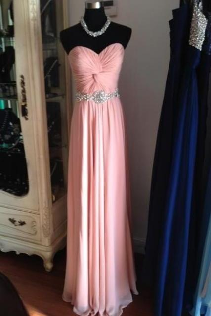 Strapless Long Chiffon Prom Dresses Beaded Pleat Floor Length Party Dresses