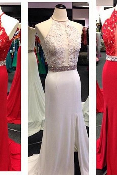Halter Neck Long Chiffon Red Prom Dresses Lace Appliques Party Dress Floor Length Women Dresses