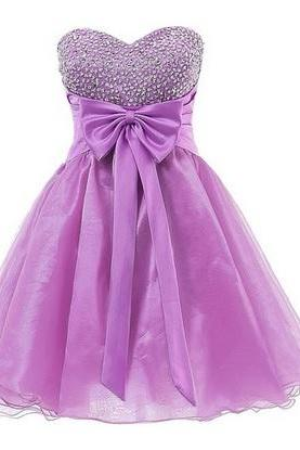 Sweetheart Neck Short Tulle Purple Homecoming Dresses beaded Mini Bow Tie Party Dress