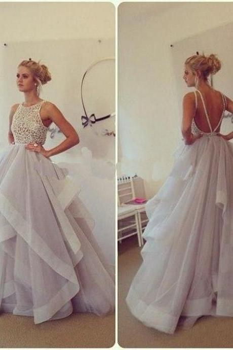 Backless Ruffle Tulle Party Dresses Floor Length Women Dresses AF062012