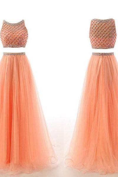 Women Long Tulle Prom Dresses 2 Pieces Scoop neck Crystals Floor length party Dresses Custom Made