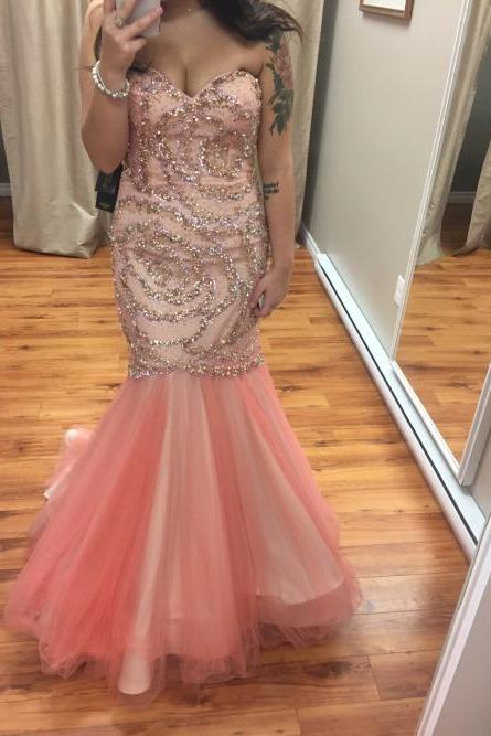 Mermaid Tulle Prom Dresses Floor Length Sweetheart Crystals Beaded Party Dress Long Women Dresses