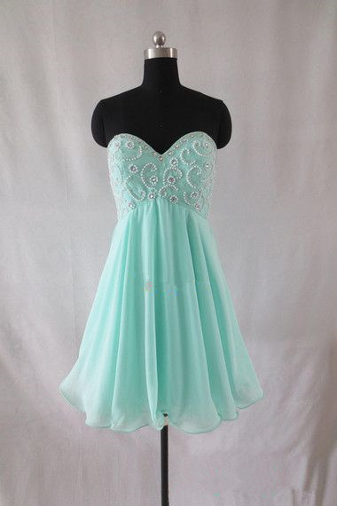 Short Chiffon Homecoming Dresses Sweetheart beaded Party Dresses