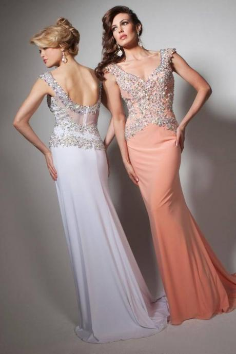 Elegant Mermaid Chiffon Pink prom Dresses Crystals V-neck Party Dresses Floor Length