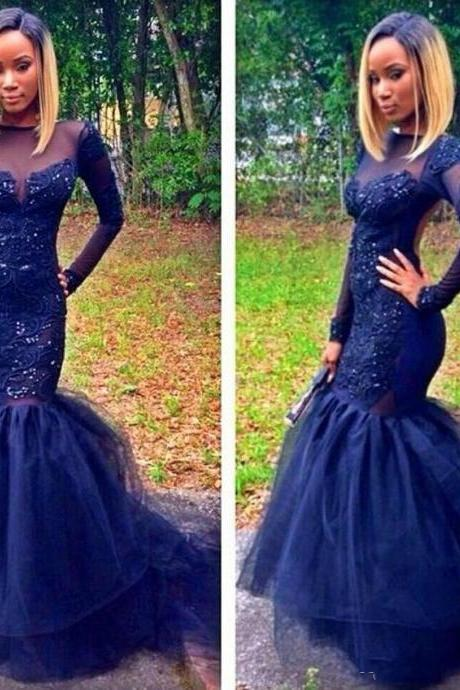 Elegant Mermaid Tulle Prom Dresses Long Sleeves Appliques Beaded Party Dresses Floor Length
