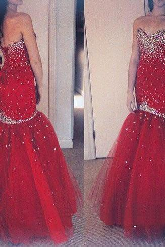 Mermaid Tulle Red Prom Dress Crystals Floor Length Beaded Party Dresses Tailor Made Women Dresses