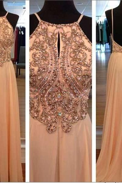 Backless Long Chiffon Prom Dresses Open Back beaded Party Dresses Floor Length Party Dresses