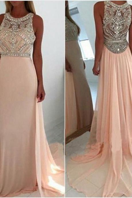Long Chiffon Pink Prom Dresses Beaded Floor Length Women Dresses AF7841