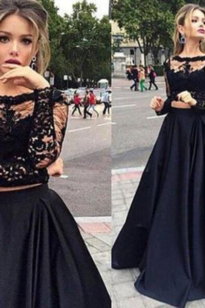 Long Sleeve Satin Black Prom Dresses Scoop Neck Lace Women Party Dress