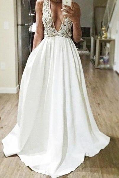 Deep V-neck Long Chiffon Prom Dresses Deep V-neck Lace Appliques Party Dresses Floor Length Party Dresses 2016