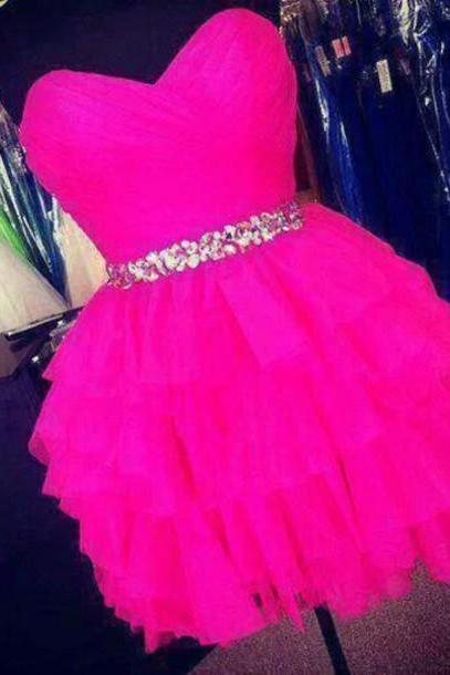 Short Tulle Homecoming Dresses Sweetheart Neck Crystals Beaded Party Dress