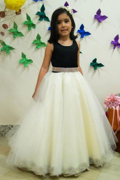 Lovely Tulle Flower Girl Dresses Charming Children Dresses for wedding party dresses 2016 Custom Made