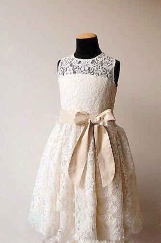 Lovely Lace Flower Girl Dresses Charming Children Dresses for wedding party dresses 2016 Custom Made