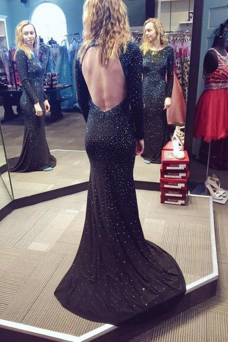 Sexy Mermaid Chiffon Prom Dresses Beaded Evening Dresses Backless Floor Length Party Dresses Custom Made Women Dresses 2016