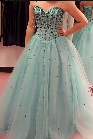 Ball Gown Long Tulle A-line Prom Dresses Sweetheart Neck Floor Length Party Dresses Custom Made Women Dresses