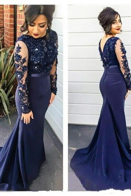 Mermaid Blue Satin Prom Dresses Lace Appliques Beaded Party Dresses Long Sleeves