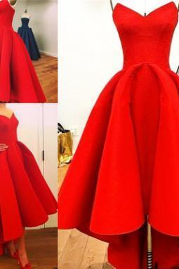 Sweetheart Neck Satin Red Prom Dresses Charming A-line Party Dresses Long Red Women Dresses
