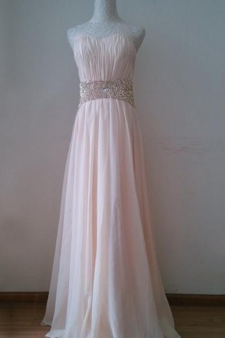 Sweetheart Neck Long Chiffon Pink Prom Dresses Beaded Floor Length party Dresses