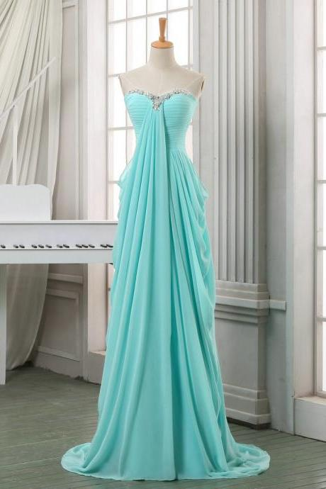 Sweetheart Neck Long Chiffon Prom Dresses with Crystals Floor Length Party Dresses Custom Made Women Dresses
