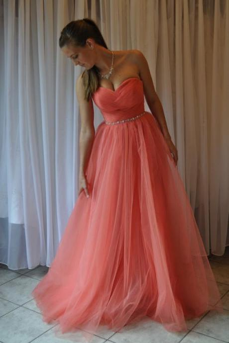 Sweetheart Neck Long Tulle Prom Dresses Sweetheart Neck Crystals Floor Length Party Dresses