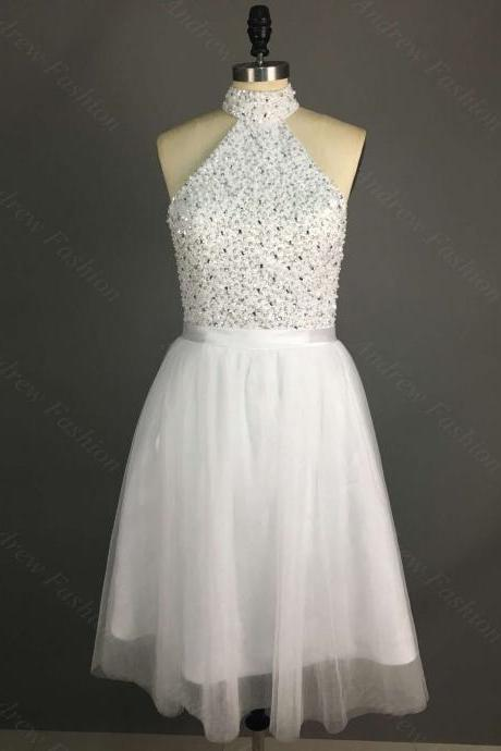 Halter Neck Short Tulle White Homecoming Dresses with Beads White Mini party Dresses