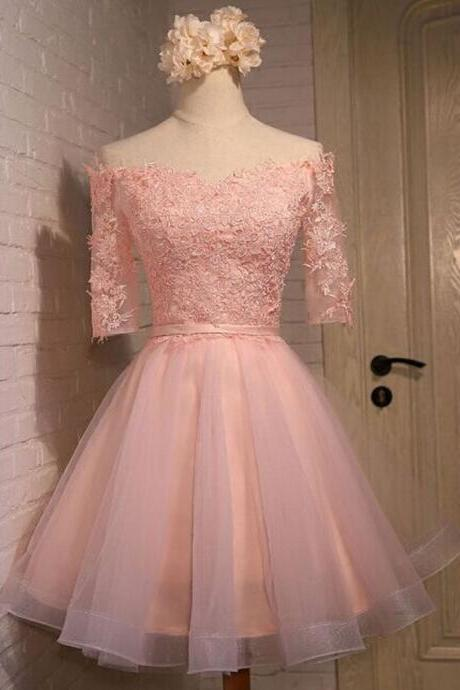 Short Sleeves Short Tulle Pink Homecoming Dresses Lace Appliques Mini Party Dresses