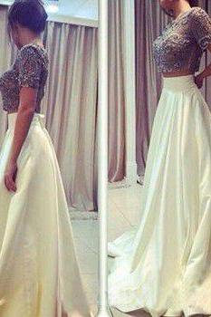 2 Pieces Ivory Satin Prom Dresses Lace Appliques Floor Length Party Dresses