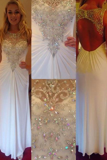 Open Back Sheath Long Chiffon Prom Dresses with Crystals Floor Length Party Dresses Custom Made Women Dresses