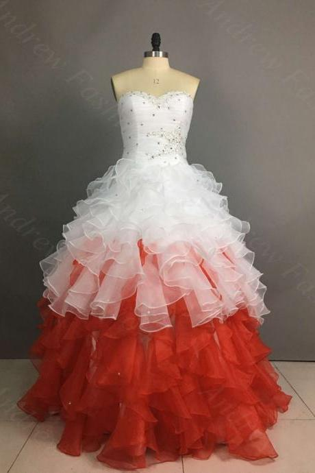 Sweetheart Neck Ball Gown Ruffle Organza Prom Dresses Floor Length Party Dress