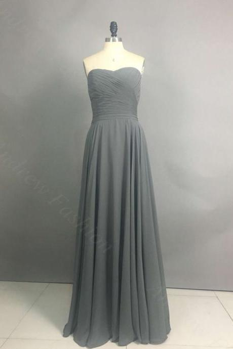 Long Chiffon Grey Prom Dresses Sweetheart Neck Mini Party Dresses Custom Made Women Dresses