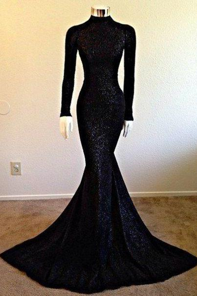 Long Sleeves Mermaid Black Sequined Lace Prom Dresses High Neck Floor Length Party Dresses Custom Made Women Dresses
